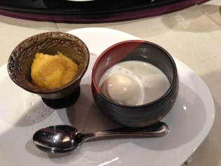 Mango pudding & coconut sago with ice cream