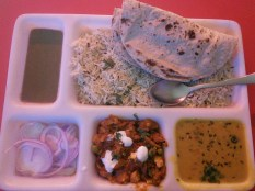 Thali with roti and rice