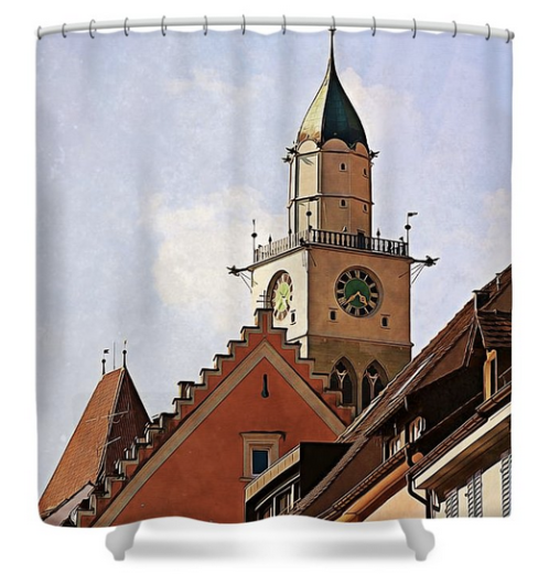 Uberlingen roofs shower curtain