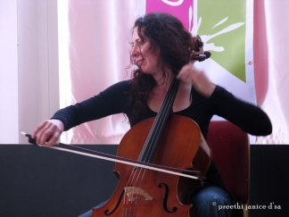 Carol connects with her cello. Photos © Preethi Janice D'Sa