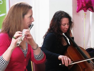 Karen (flute) and Carol (cello), part of the King Alfred's Cake Music Trio. Photos © Preethi Janice D'Sa