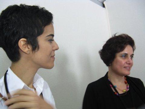 Huda and Lara, the tutors at the Arabic typeface workshop. Photo © Jan D'Sa