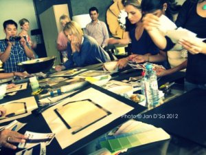 Various finalists hard at work with their mood boards.