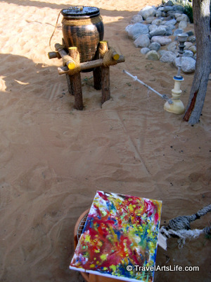The next day, my artwork colours ran into one another, thanks to the night dew. Even sand became part of the painting.