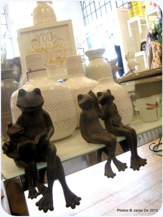 Couldn't resist photographing these frog sculptures seated in the shop.