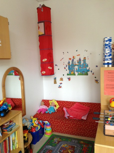 This cozy corner is also part of the nursery room where recuperating children indulge in bit of art therapy.