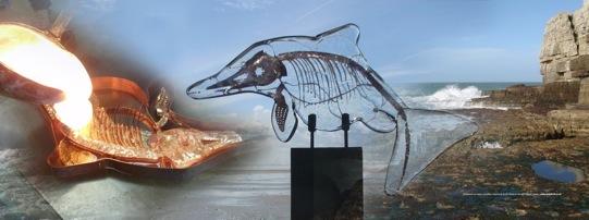 Ichthyosaur glass scuplture from the Forma Range