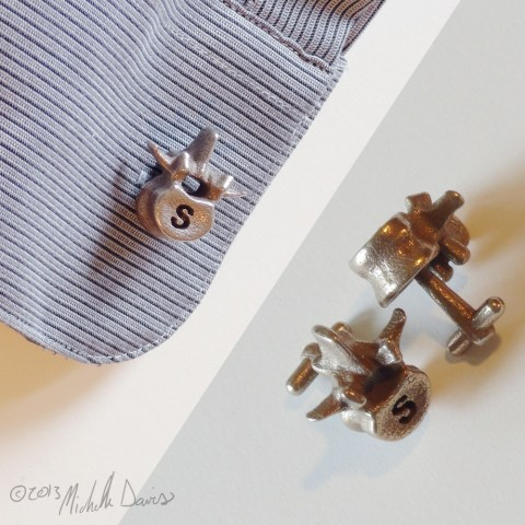 Lumbar inspired cufflinks. Photos © Michelle Davis