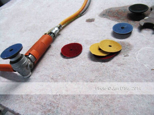 The heavy-duty burnishing tools to sand down the finished marble pieces, very similar to what I use when I sand down my handcrafted resin rings