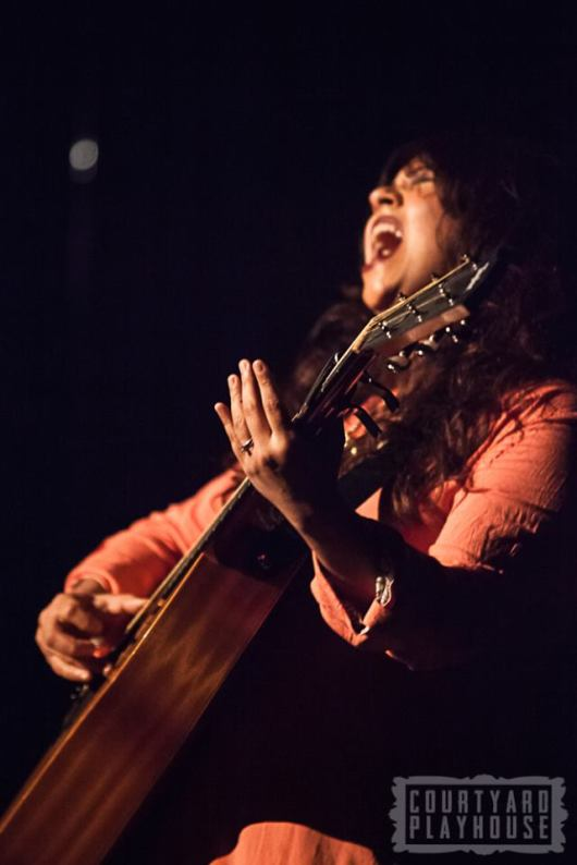 Gayathri, singer/songwriter belts it out. Photo © Tiffany Schultz & the Courtyard Playhouse