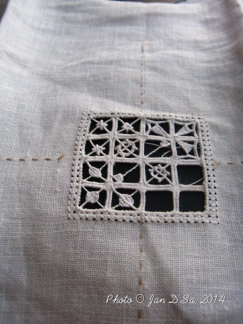 Embroidery on linen. This is my favourite piece. It is made in traditional embroidery, Reticello version