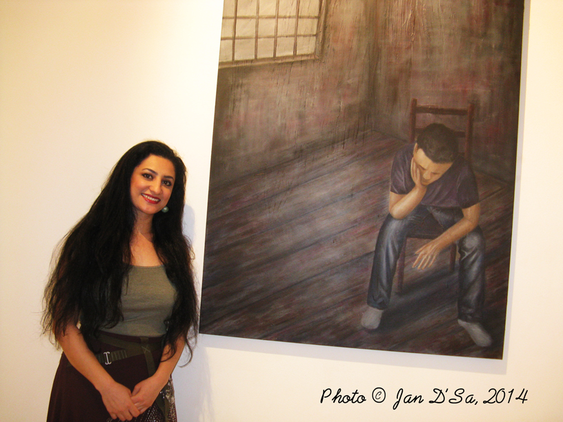Shaok Tahir with her 'Untitled' work