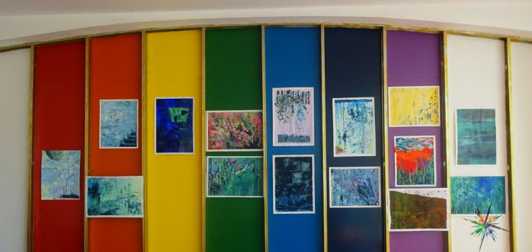 Colourful panels of intuitive art by Vanessa Arnold.  Photo  ©Jan D'Sa.