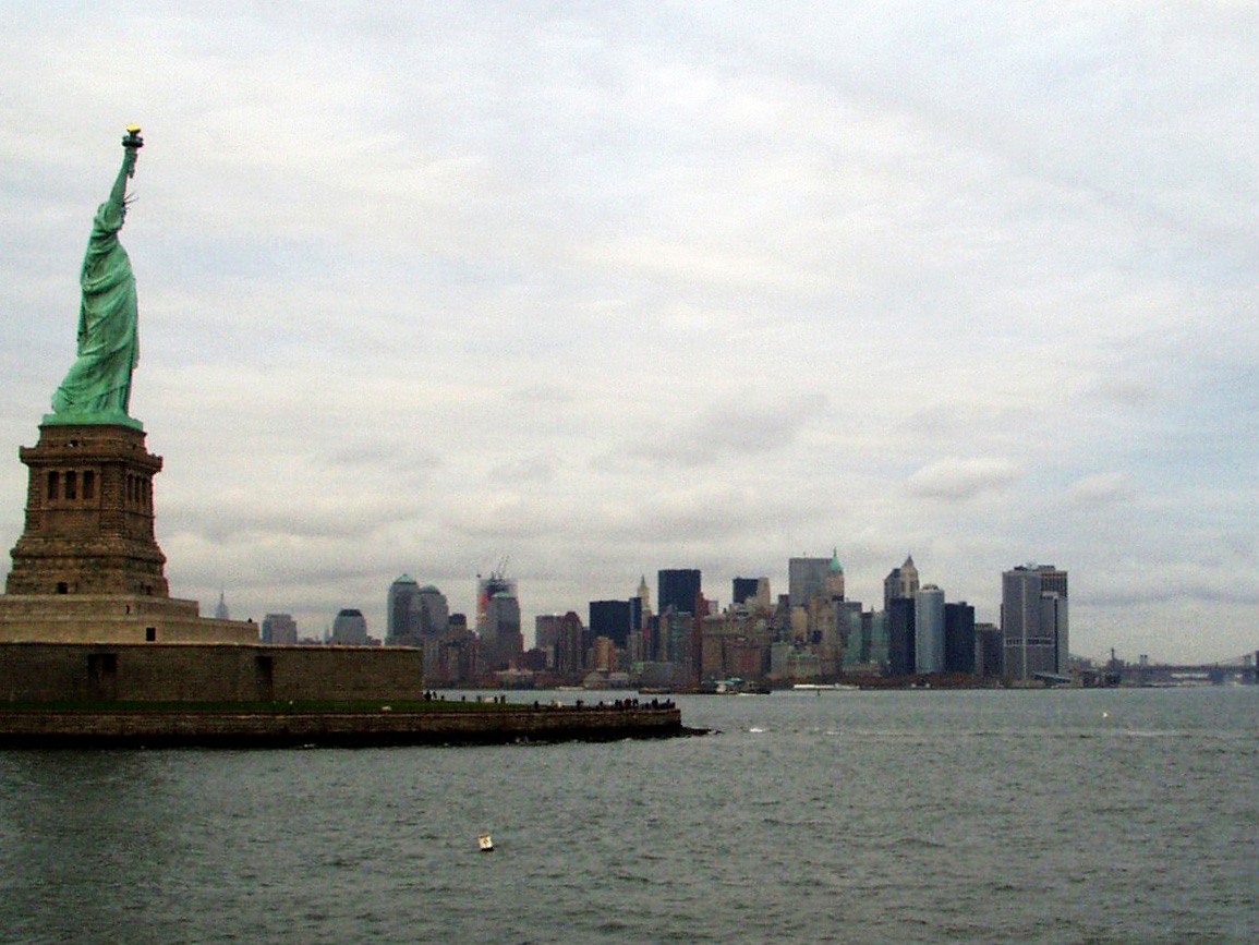 View of NYC from the backside of Statue of Liberty