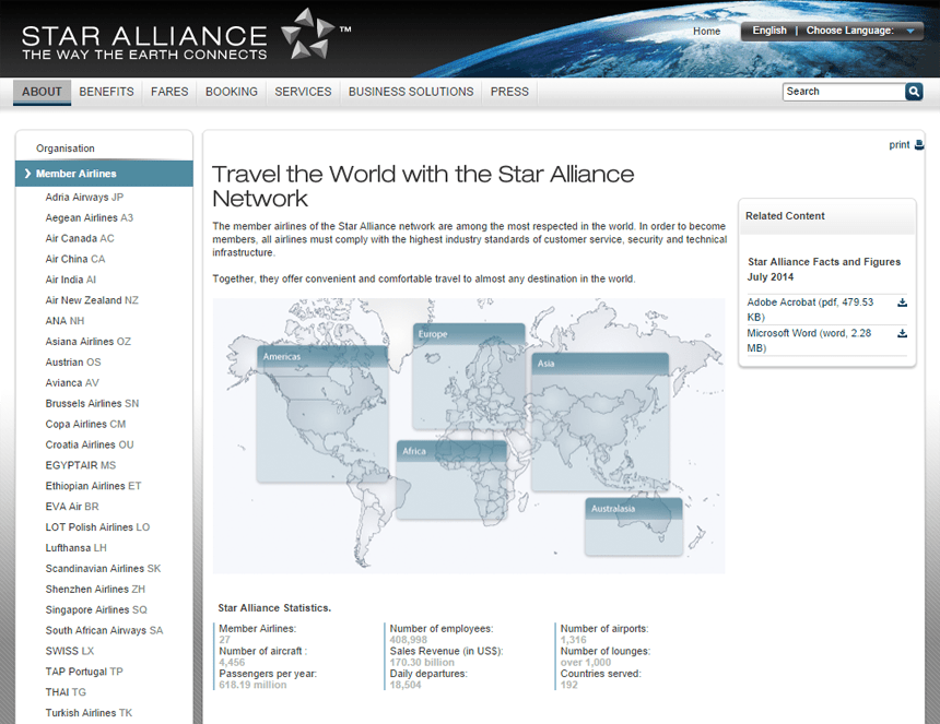 Star Alliance is the largest of the 3 airline alliances.