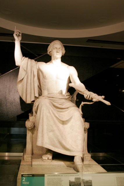 George Washington by Horatio Greenough resides at National Museum of American History.