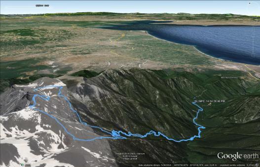 Trasa na Mytikas, Olimp (Google Earth)