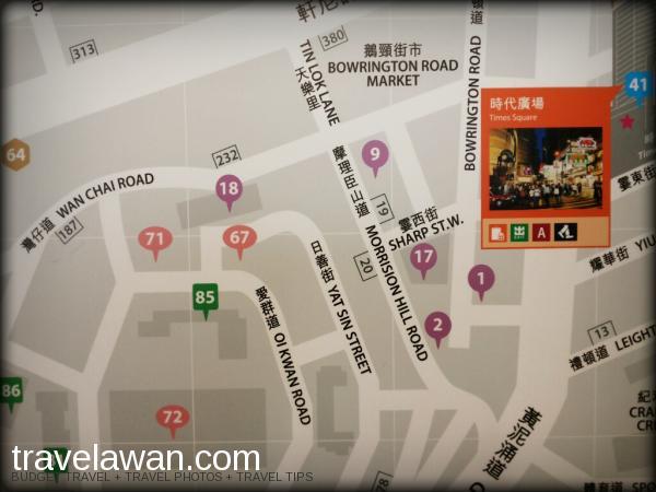 Peta di stasiun MTR Causeway Bay, No. 71 adalah lokasi Islamic Centre