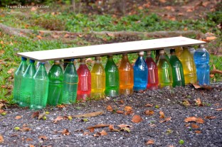 Recycled bottles to make a stool