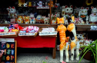 Auspicious cats and trinkets.