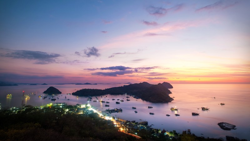 Panorama dramatic sunset sky at Labuan Bajo.