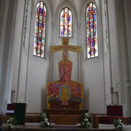 Kelley here: The church of St. Andrew. Even though this Salzburg church is gothic revival style architecture, the altar and windows are surprisingly modern. In my opinion, this colorful church humbly rivals the beauty of St. Stephen's cathedral.