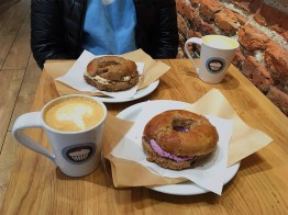 Bagels, Coffee, and blueberry cream cheese. What more can you ask for?