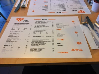 coffee & waffles menu