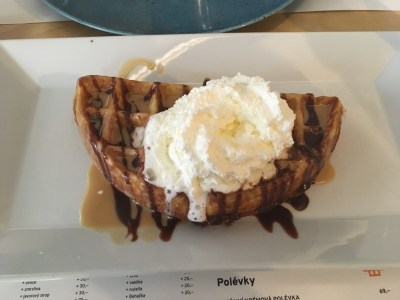 nutella and peanut butter waffle