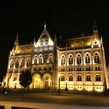 Views of the Parliament building at night