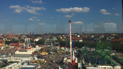 view of oktoberfest from ferris wheel