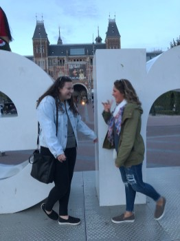 Denim jacket hangs out with Rachel in Amsterdam