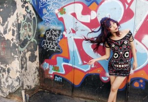 In the Budapest graffiti district with La Carmina female travel blogger