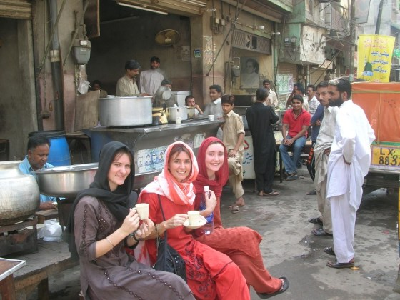 We three girls sitting for tea in Lahore, Pakistan