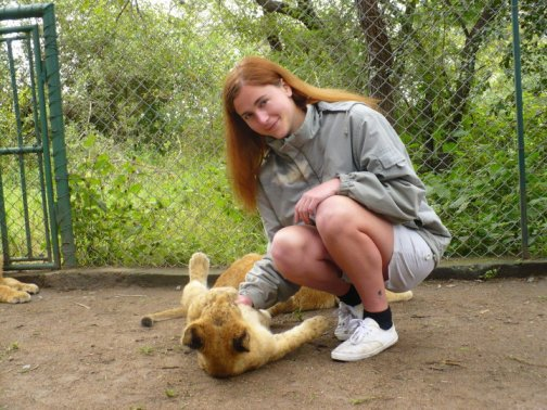 Petting lion cubs in Zimbabwe