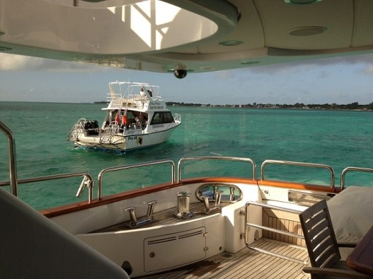 View off the megayacht Rika worked on. While in Belize, the dive boats came straight to the yacht to pick the divers up - the perks of being rich!