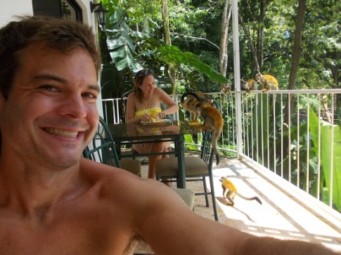 Ryan monkeying around, selfie-style, in Quepos, Costa Rica.