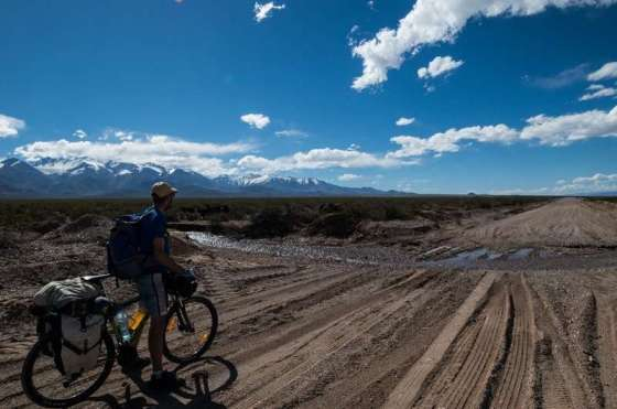 A desolated dirt road in Argentina. We were carrying 20 days of food on the bikes by Thomas Andersen of Cycling The Globe