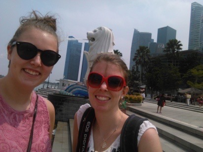 Selfie at The Merlion in Singapore