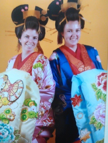 Us dressed up in traditional outfits and wigs, when we were in Tokyo, Japan.
