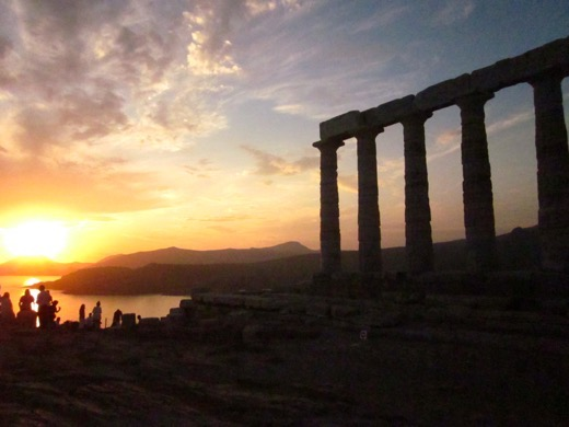 Sunset at Temple of Poseiden, Athens, Greece from Chasing Sunsets