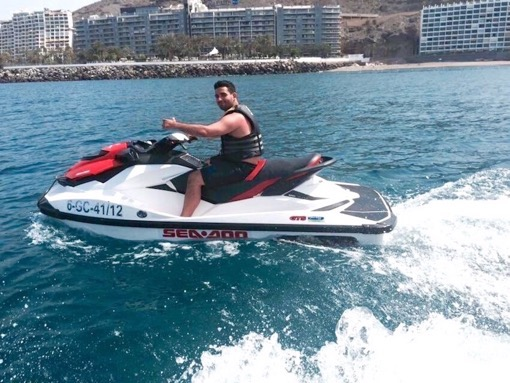 Fabio Virgi of Fab Meets World on a jetski in Morocco