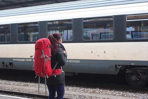 Felicia of Feather and the Wind waiting at the station in Geneva