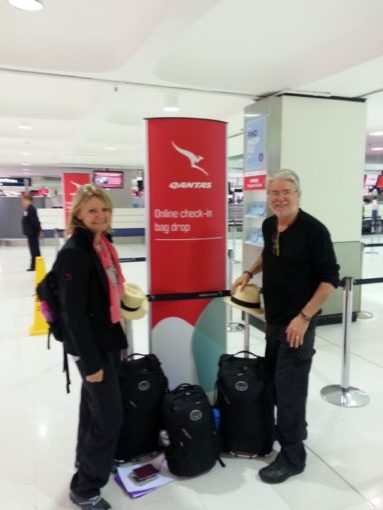 Jane and Duncan at the Qantas check-in on the way with the to travel too team