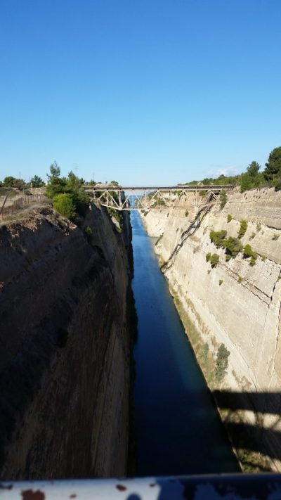 The Corinth Canal, a man-made waterway separating the Peloponnesian Peninsula from mainland Greece.