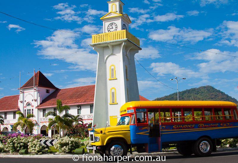 Colourful Samoan street scene