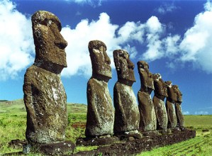Easter Island Moai figures standing tall and majestic