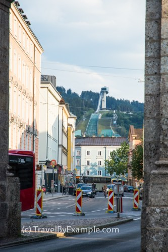 Bergisel Ski Jump is seen through the Triumphal Arch