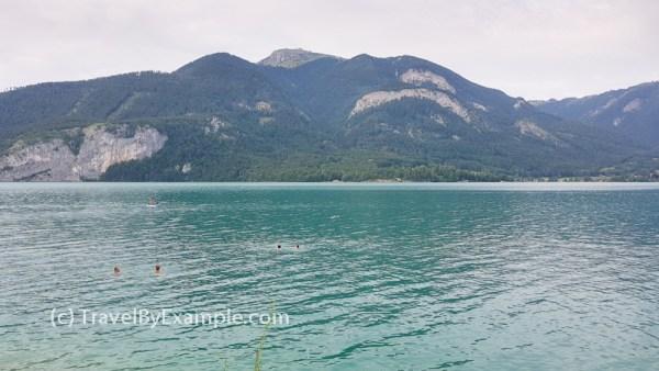 Swimming in Austrian lake Wolfgangsee