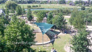 View from the observation tower towards playground in Maximapark